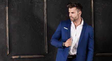 Elegant handsome man posing.
