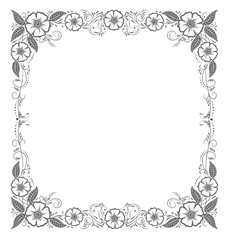 Elegant floral frame. Template for greeting card, invitation, diploma. Vector illustration in retro style