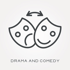 Line icon drama and comedy