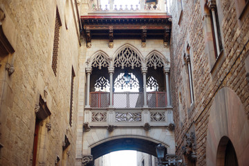 Barcelona, Spain - bridge of sighs in old town Barri Gotic district