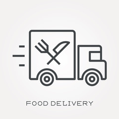 Line icon food delivery