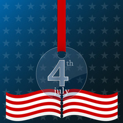 Fourth of july independence day of the usa poster.Glass realistic medal
