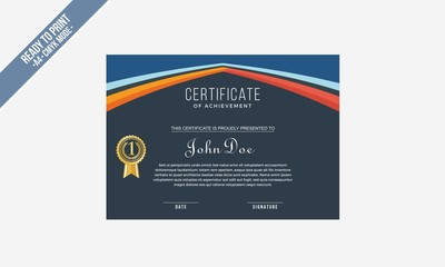 Elegan tBlue Red Certificate decorated template shapes and golden lines vector