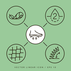 Orthopedic insoles vector icon isolated. Thine line vector icons.