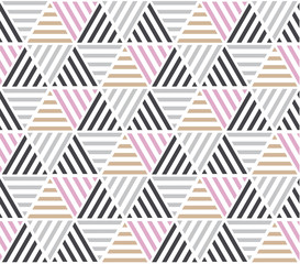 Modern style vector illustration for surface design. Abstract seamless pattern with triangle motif in natural beige and gray colors.