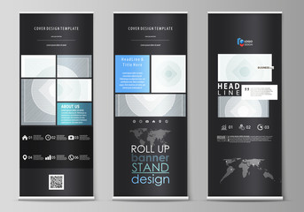 Roll up banner stands, flat design templates, abstract geometric style, corporate vertical vector flyers, flag layouts. Minimalistic background with lines. Gray color geometric shapes, simple pattern.