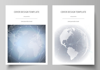 The vector illustration of the editable layout of A4 format covers design templates for brochure, magazine, flyer, booklet, report. Abstract futuristic network shapes. High tech background.