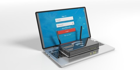 Wifi router on a laptop - white background. 3d illustration