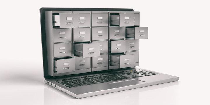 Laptop data storage concept. 3d illustration