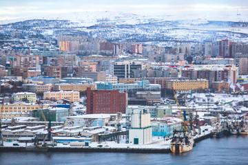 Beautiful aerial air winter vibrant view of Murmansk, Russia, a port city and the administrative center of Murmansk Oblast, Kola peninsula, Kola Bay