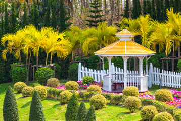 A beautiful pavilion in the flowers garden.