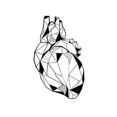 Heart stylized triangle polygonal model
