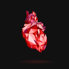 Red heart stylized triangle polygonal model