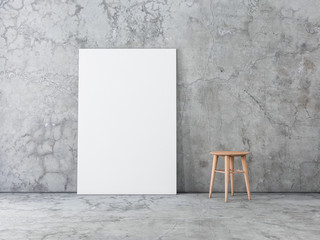 Vertical Poster Canvas Mockup standing on the concrete floor, 3d rendering