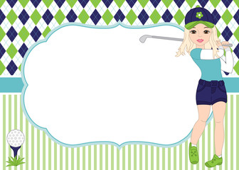 Vector Card Template with Girl Playing Golf. Argyle Background. Golf Vector Illustration.