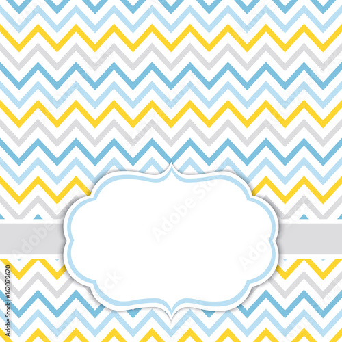 Card Template with Chevron Background. Baby Boy Shower Vector ...