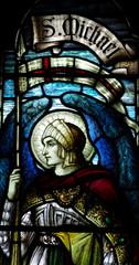 Fototapete - Archangel Michael in stained glass