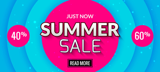 Summer sale banner design. Market discount clearance. Summer sale hot offer poster