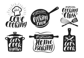 Cooking label set. Cook, food, eat, home baking icon or logo. Lettering, calligraphy vector illustration