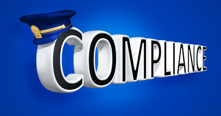 Police Cap On The Word Compliance 3D Illustration
