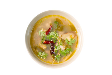 Hot and Sour Chicken Soup (tom yum gai) on white background ,Thai food