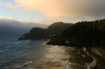Heceta Head, with the Lighthouse and Keepers house on the Oregon central coast near sunset.