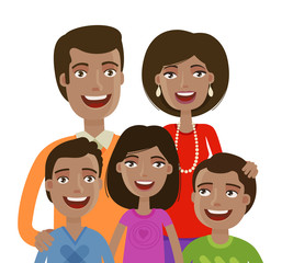 Portrait of happy cheerful family. People, domestic life, parents and children. Cartoon vector illustration