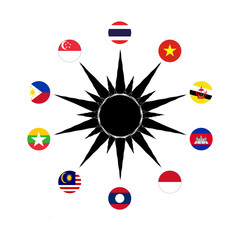 Country members of Southeast Asia in design of circle country flag
