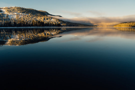 Winter sunrise at Donner Lake, California.