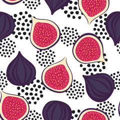 Seamless figs pattern with decorative dots on white background. Summer fruit vector illustration. Design for wallpaper, fabric, decor, textile.