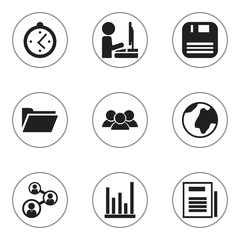 Set Of 9 Editable Office Icons. Includes Symbols Such As Diskette, Watch, Group And More. Can Be Used For Web, Mobile, UI And Infographic Design.