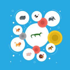 Flat Icons Rooster, Swine, Gobbler And Other Vector Elements. Set Of Zoology Flat Icons Symbols Also Includes Reptilian, Rooster, Gobbler Objects.