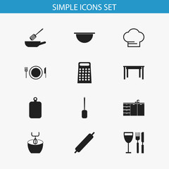 Set Of 12 Editable Kitchen Icons. Includes Symbols Such As Tableware, Frying Pan, Cutting Surface And More. Can Be Used For Web, Mobile, UI And Infographic Design.