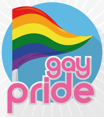 Round Button with Rainbow Pennant for Gay Pride, Vector Illustration