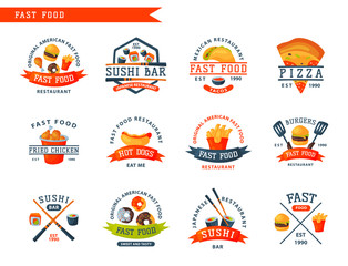 Colorful cartoon fast food label logo isolated restaurant tasty american cheeseburger badge mea meal vector illustration.