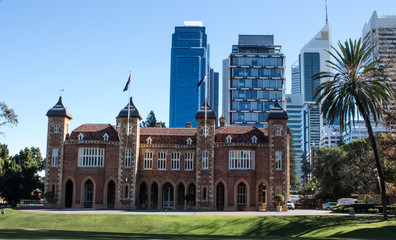 Government House Perth Western Australia with city skyline