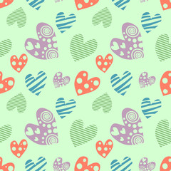 Seamless vector pattern with hearts. Background with hand drawn ornamental symbols. Template for wrapping, decor, surface, cards, backgrounds, textile, print. Repeat ornament. Series of Love Patterns.