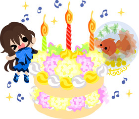 A cute little girl and a goldfish bowl and a birthday cake