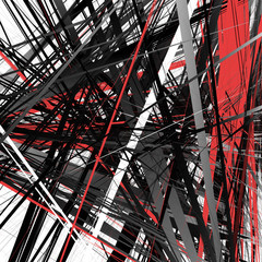 Abstract geometric illustration with random, chaotic elements
