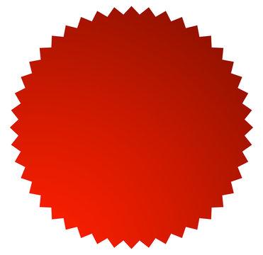 Badge, starburst, sunburst button background. Blank badge, button shape