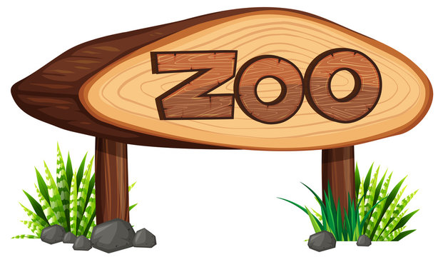 Zoo sign made of wood
