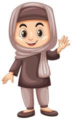 Turkish kid waving hand