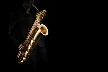 Poster Music Saxophone player. Saxophonist with baritone