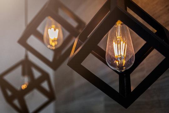 modern pendant light with vintage light bulb