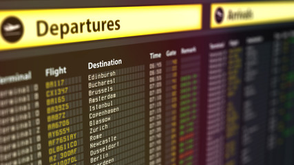 Departures sign board with flight information, destination cities on timetable