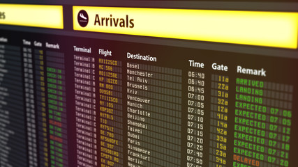 Airport timetable arrivals and departures board with changing flight information