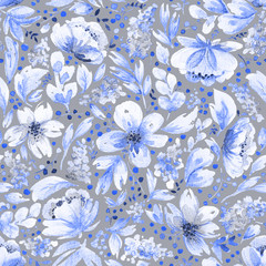 Photo sur Plexiglas Fleurs Vintage Seamless pattern with watercolor leaves and blue flowers.