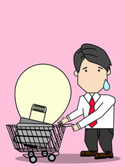 Businessman with shopping carting