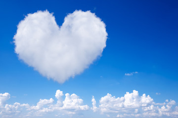Heart-shaped cloud in the blue sky background.