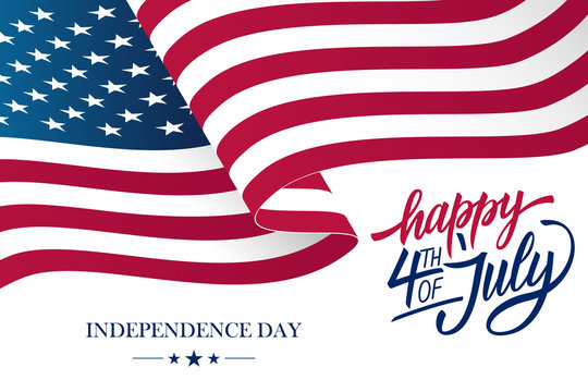 Happy 4th of July USA Independence Day greeting card with waving american national flag and hand lettering text design. Vector illustration.
